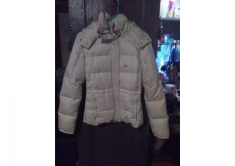 Adidas white winter jacket size small